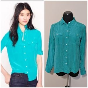 J. Crew turquoise Blythe silk button down …